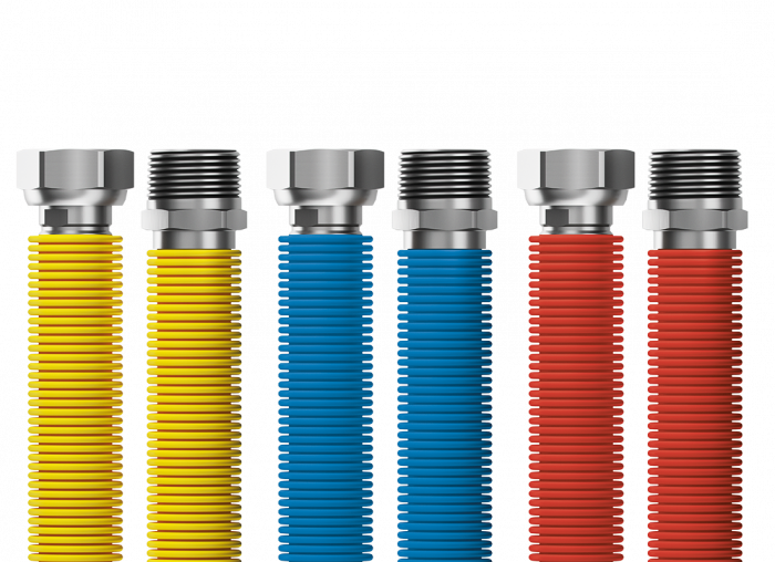 """Connecting set Merabell Flexi R1/2""""-G1/2"""" 30-60cm - 3pcs hose (blue, red, yellow)"""