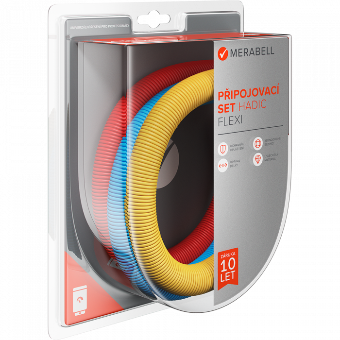 """Connecting set Merabell Flexi R3/4""""-G3/4"""" 30-60cm - 3pcs hose (blue, red, yellow)"""